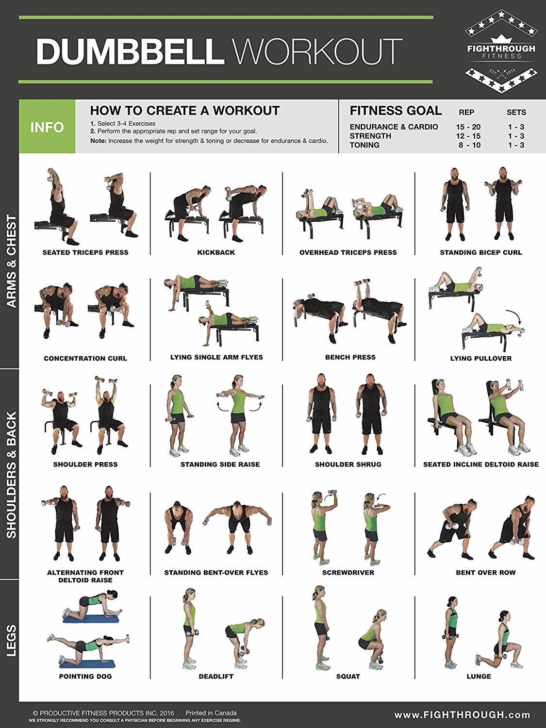 Dumbbell Workout Poster Exercise Publications Posters